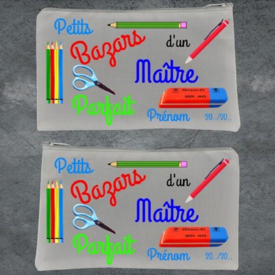 Trousse à crayon blanc Petits Bazars Maître à personnaliser