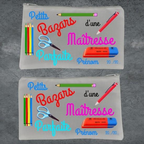 Trousse à crayon blanc Petits Bazars Maîtresse à personnaliser