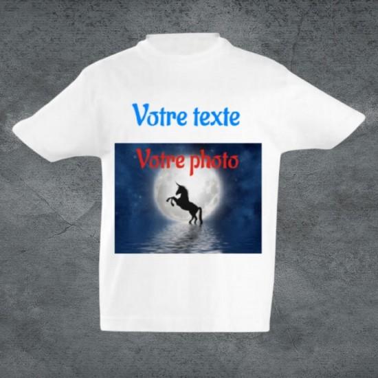 Tee-shirt enfant blanc unisexe à personnaliser