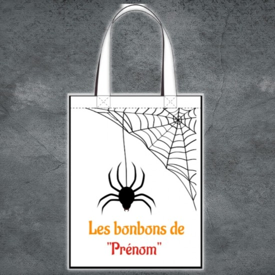 Tote Bag Halloween araignée à personnaliser