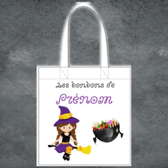 Tote Bag Halloween sorcière à personnaliser