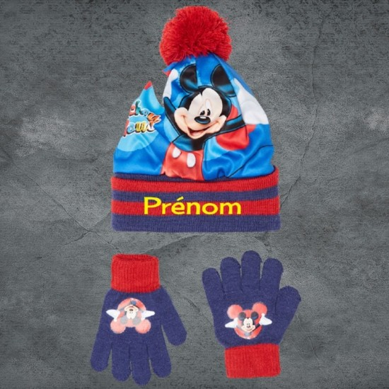 Bonnet et gant Mickey rouge à personnaliser