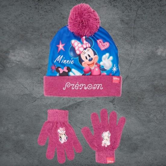 Bonnet et gant Minnie violet à personnaliser