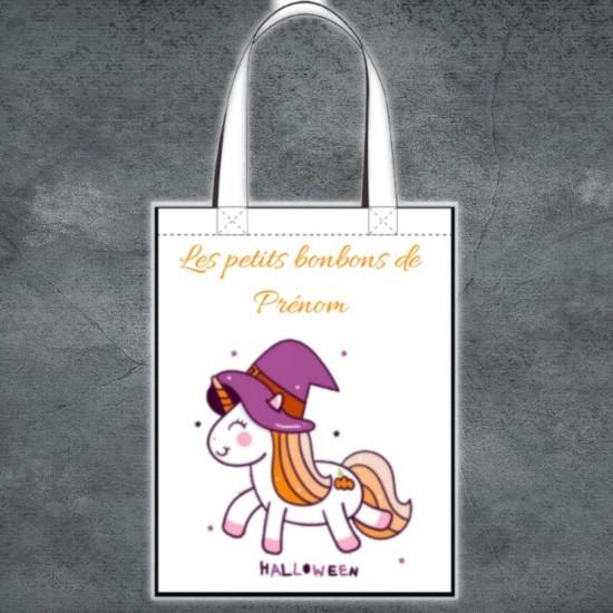 Tote Bag Halloween licorne à personnaliser
